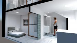 Infografía para diseño de duplex Málaga vista dormitorio