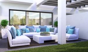 Infografia, diseño del terraza en blancos y turquesa