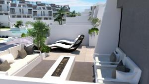 Infografia, diseño del solarium, vista piscina
